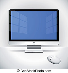 Flat screen and mouse on the desktop with vignetting