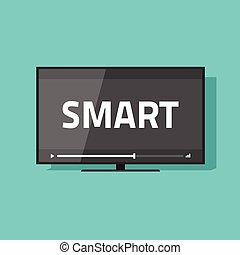Flat screen smart tv with video vector icon, led television display with smart digital technology