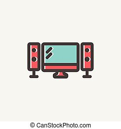 Flat screen televiison with speakers thin line icon