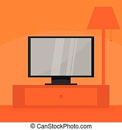 Flat Screen Television Home Scene Illustration