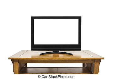 Flat Screen Television on Large Wood Table Isolated on White