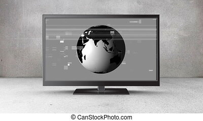 Flat screen television with a rotating globe on its screen