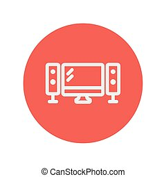 Flat screen television with speaker thin line icon