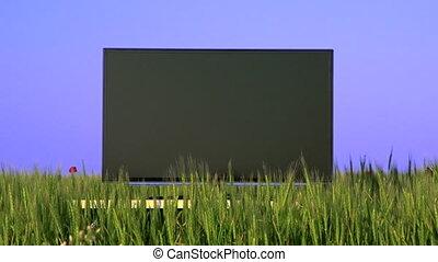 Flat screen TV in the green field