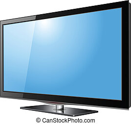 Flat screen tv lcd, plasma realistic vector illustration.