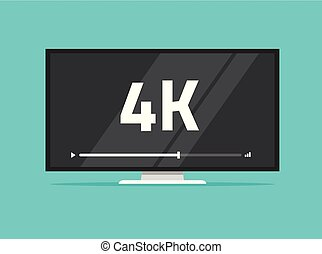 Flat screen tv with 4k Ultra HD video technology vector illustration, led television display with high definition digital tech symbol, idea of wide screen computer monitor