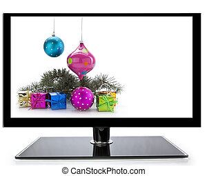 Flat screen TV with Christmas decoration on a white...