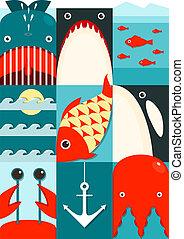 Flat Sea and Fish Rectangular Nautical Set - Marine design...