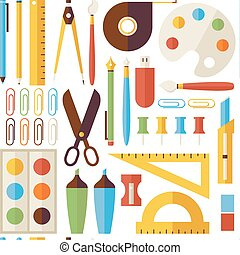 Flat Seamless Pattern Back to School Objects and Office Instruments