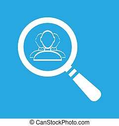 flat search icon with user group people on a blue background