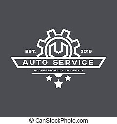 flat., serviço, automático, sinal, chave, logotipo, reparar