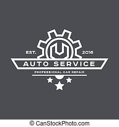 flat., service, auto, zeichen, maulschlüssel, logo, reparatur