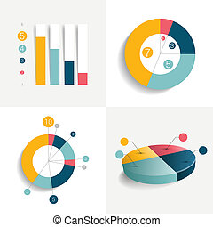 Flat set of charts and brochure elements. Simply color ...