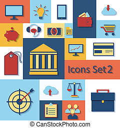 Flat set of modern vector icons .
