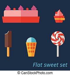 Flat set of sweets