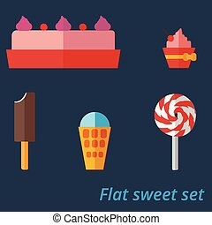 Flat set of sweets