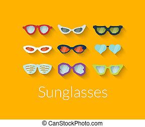 Flat set of vector sunglasses
