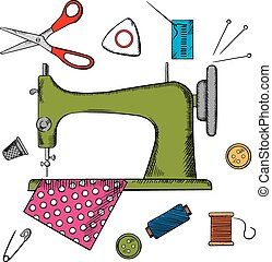 Colorful sewing icons surrounding a sewing machine with pin, thread, yarn, thimble, button and cloth. Vector illustration