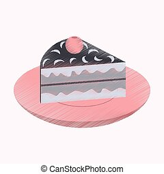 flat shading style icon Berry pie on a plate