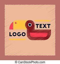 flat shading style icon bird logo