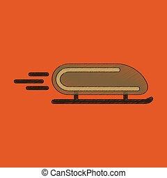 flat shading style icon bobsled