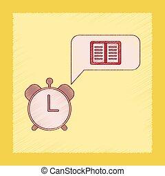 flat shading style icon book alarm clock