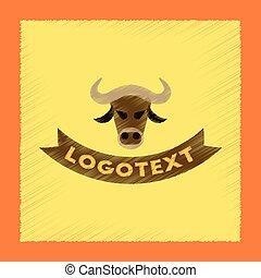 flat shading style icon bull logo
