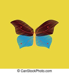 flat shading style icon butterfly