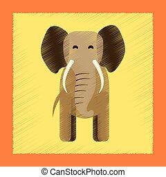 flat shading style icon cartoon elephant