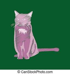 flat shading style icon cat
