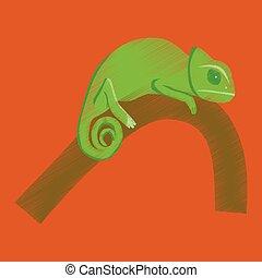 flat shading style icon chameleon