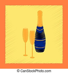 flat shading style icon Champagne bottle and glasses
