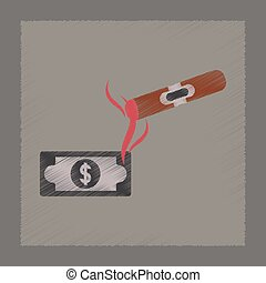 flat shading style icon cigar dollar