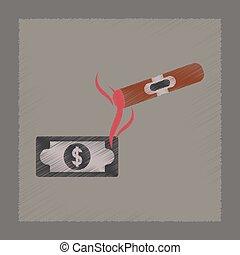 flat shading style icon cigar dollar