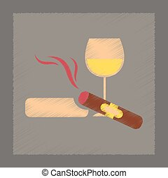 flat shading style icon cigar glass of wine