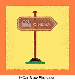 flat shading style icon cinema sign