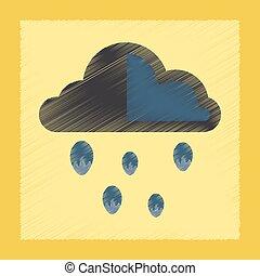 flat shading style icon cloud hail