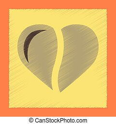 flat shading style icon coffee heart