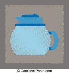 flat shading style icon coffee kettle dishware
