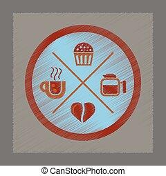 flat shading style icon coffee logo