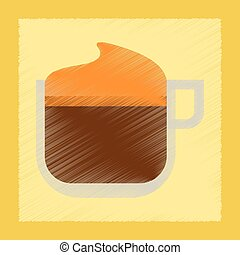 flat shading style icon coffee with cream
