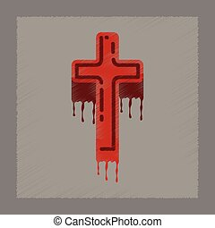 flat shading style icon cross the blood