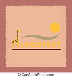 flat shading style icon giraffe logo