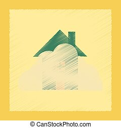 flat shading style icon House covered with snow