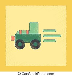 flat shading style icon Kids Tractor
