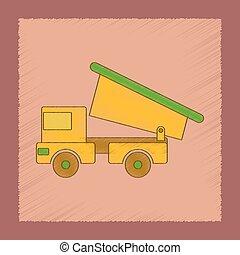 flat shading style icon Kids truck