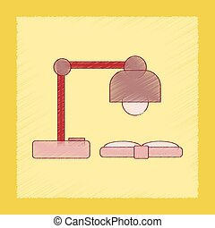 flat shading style icon lamp open book