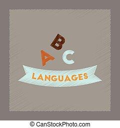 flat shading style icon letters languages