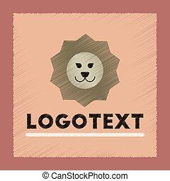 flat shading style icon lion logo