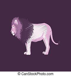 flat shading style icon lion
